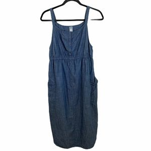 old navy denim maternity sleeveless dress